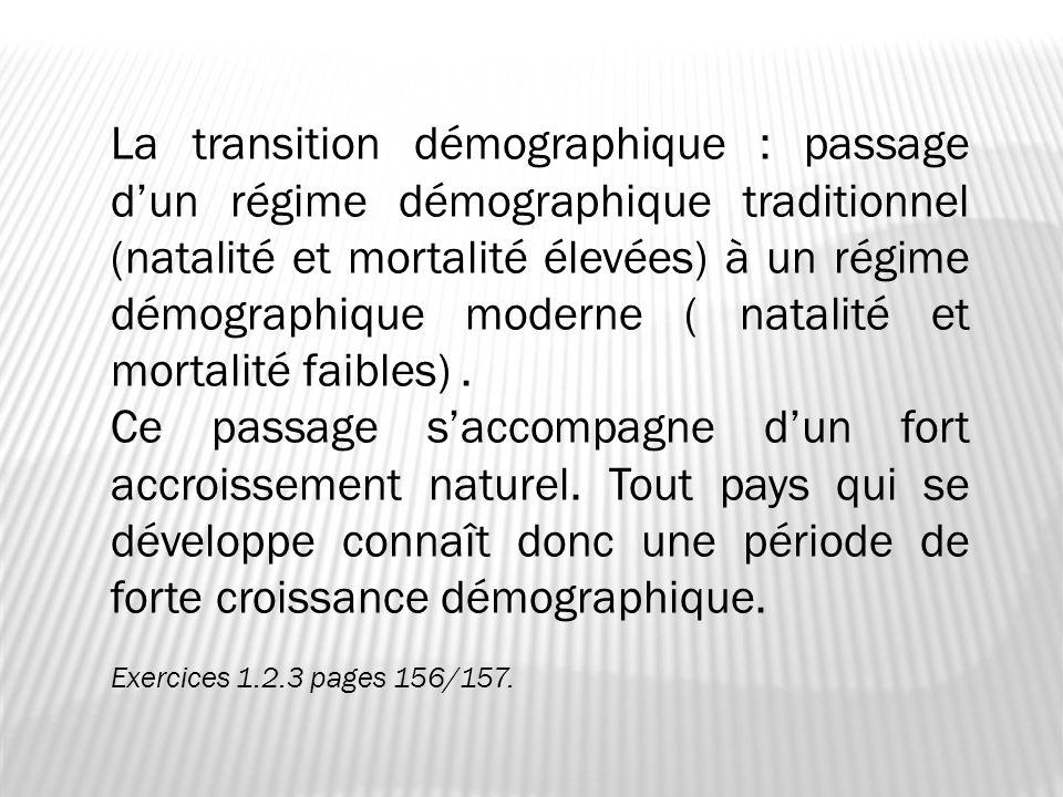 La transition démographique : passage dun régime démographique traditionnel (natalité et mortalité élevées) à un régime démographique moderne ( natali