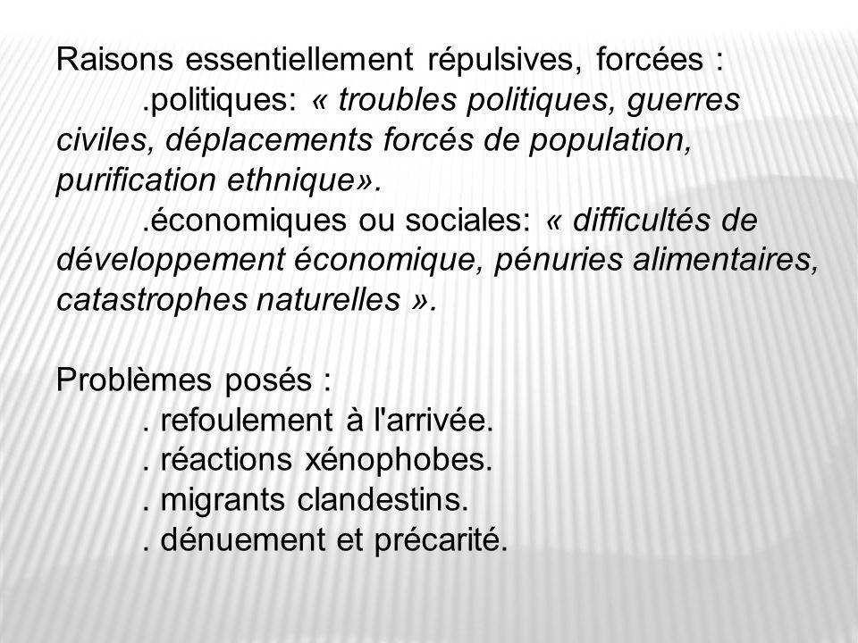 Raisons essentiellement répulsives, forcées :.politiques: « troubles politiques, guerres civiles, déplacements forcés de population, purification ethn