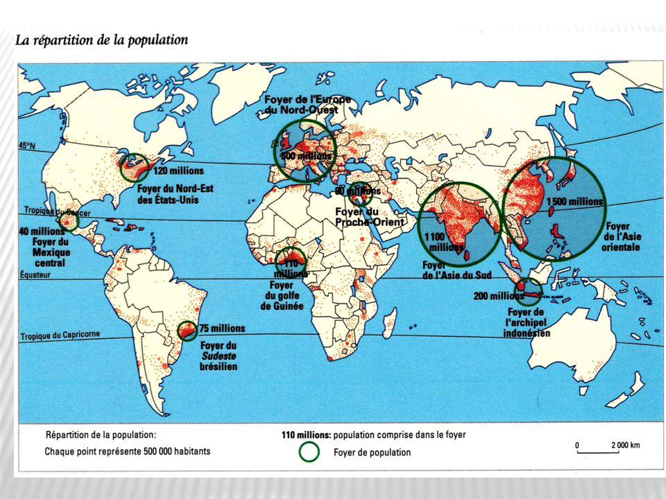On peut constater que la population mondiale est répartie de façon inégale à la surface de la terre.