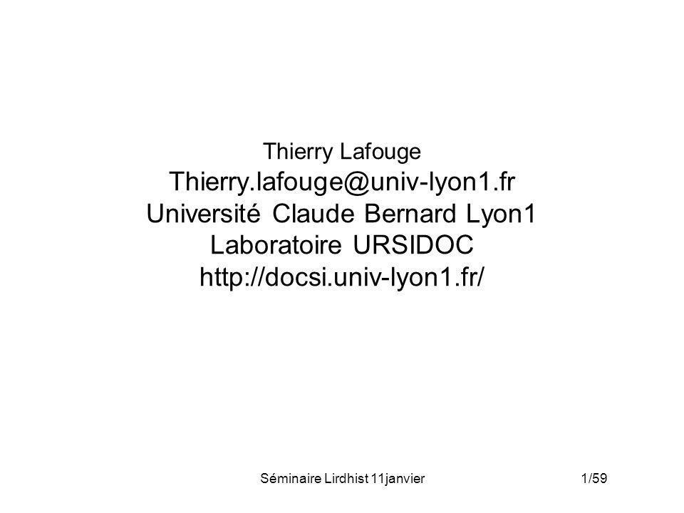 Séminaire Lirdhist 11janvier 32/59 Usages : modèle mathématique Lois de probabilité discrète –P : Processus Poissonien de taux / f fonction gamma ->Loi Binomiale négative Loi géométrique
