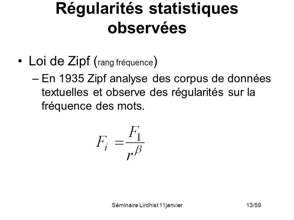 Séminaire Lirdhist 11janvier 13/59 Régularités statistiques observées Loi de Zipf ( rang fréquence ) –En 1935 Zipf analyse des corpus de données textu