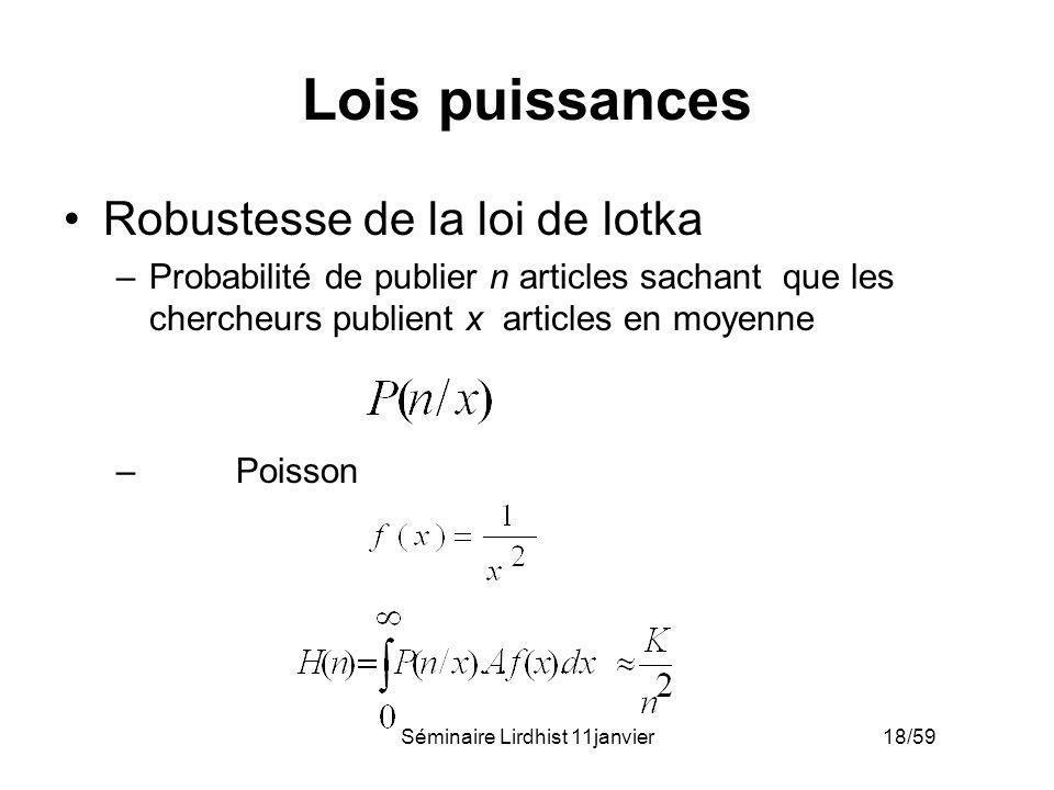 Séminaire Lirdhist 11janvier 18/59 Lois puissances Robustesse de la loi de lotka –Probabilité de publier n articles sachant que les chercheurs publien