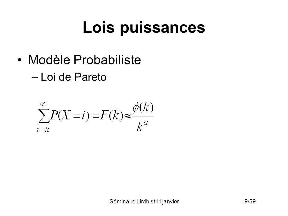 Séminaire Lirdhist 11janvier 19/59 Lois puissances Modèle Probabiliste –Loi de Pareto