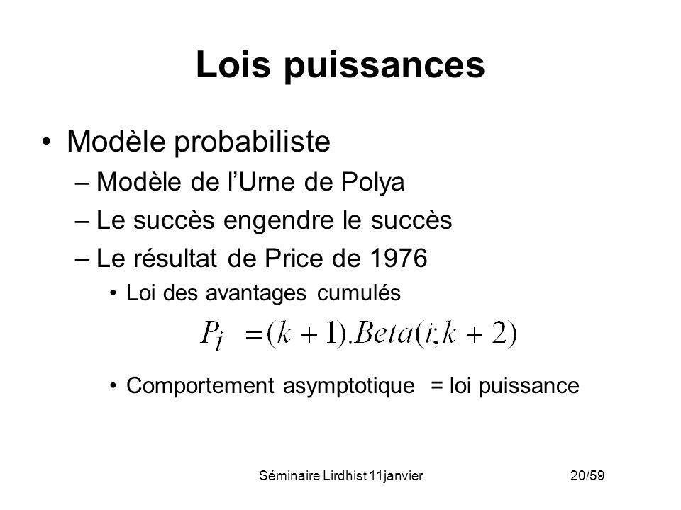 Séminaire Lirdhist 11janvier 20/59 Lois puissances Modèle probabiliste –Modèle de lUrne de Polya –Le succès engendre le succès –Le résultat de Price d