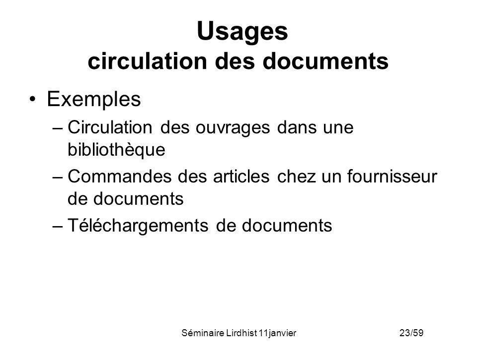 Séminaire Lirdhist 11janvier 23/59 Usages circulation des documents Exemples –Circulation des ouvrages dans une bibliothèque –Commandes des articles c