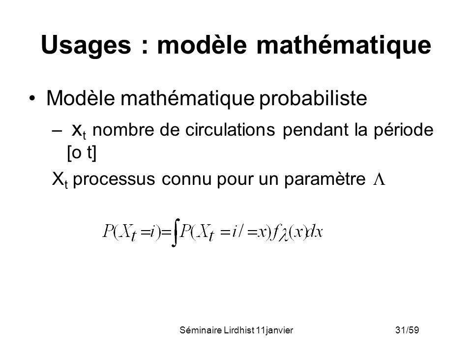 Séminaire Lirdhist 11janvier 31/59 Usages : modèle mathématique Modèle mathématique probabiliste – x t nombre de circulations pendant la période [o t]