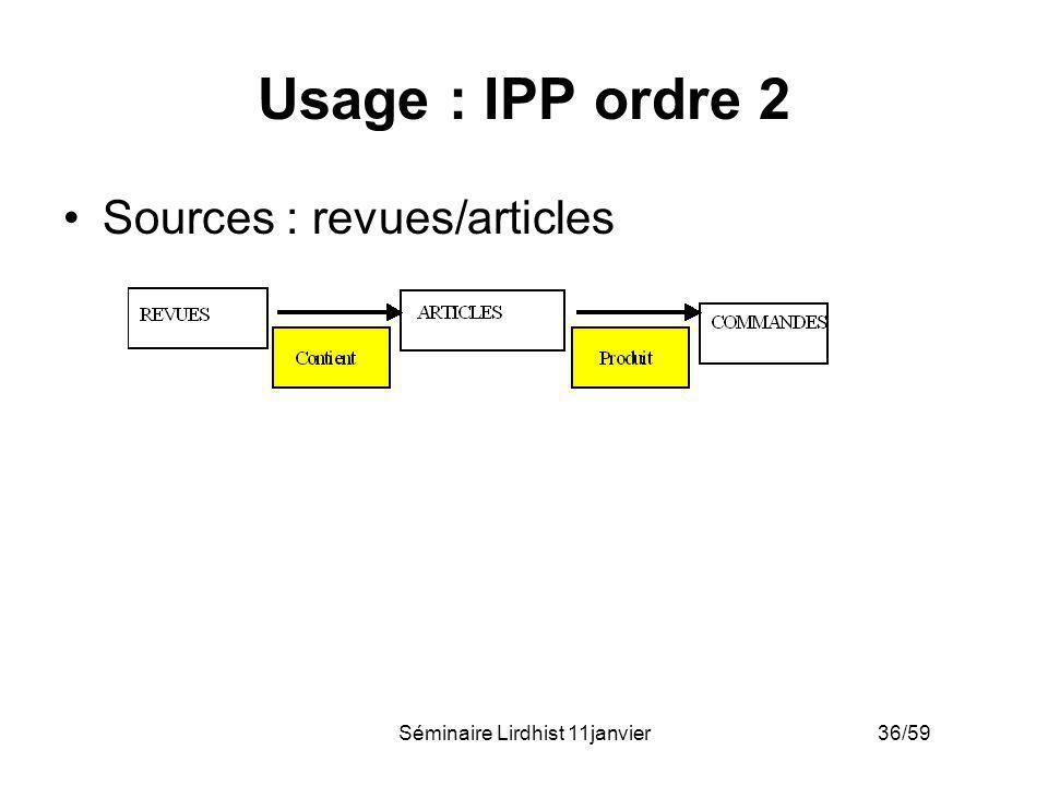 Séminaire Lirdhist 11janvier 36/59 Usage : IPP ordre 2 Sources : revues/articles