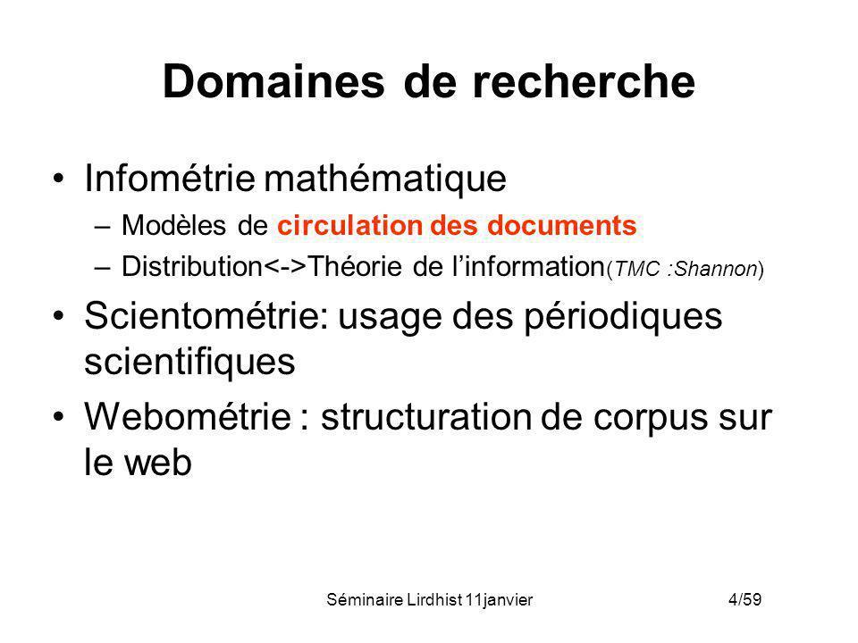 Séminaire Lirdhist 11janvier 4/59 Domaines de recherche Infométrie mathématique –Modèles de circulation des documents –Distribution Théorie de linform