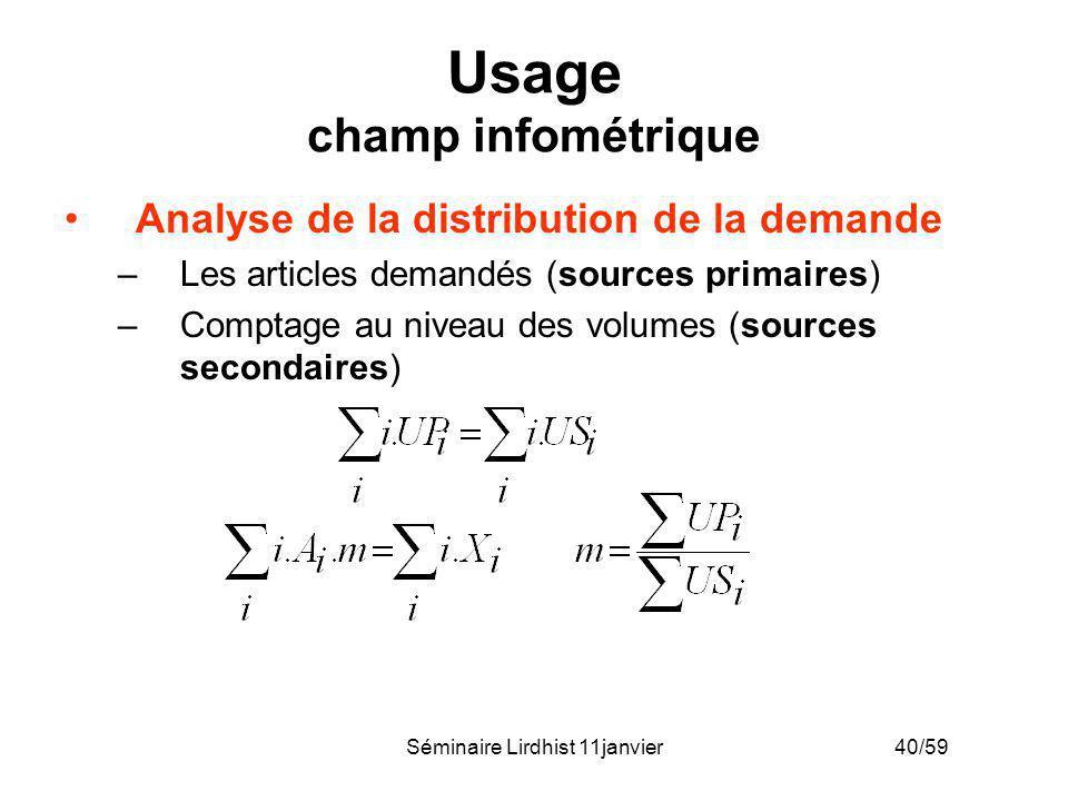 Séminaire Lirdhist 11janvier 40/59 Usage champ infométrique Analyse de la distribution de la demande –Les articles demandés (sources primaires) –Compt