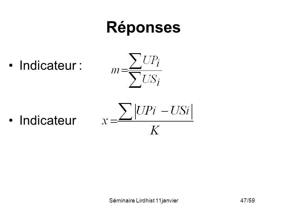 Séminaire Lirdhist 11janvier 47/59 Réponses Indicateur : Indicateur