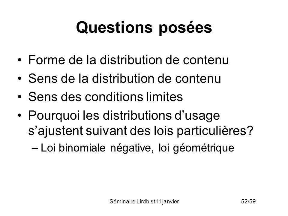 Séminaire Lirdhist 11janvier 52/59 Questions posées Forme de la distribution de contenu Sens de la distribution de contenu Sens des conditions limites