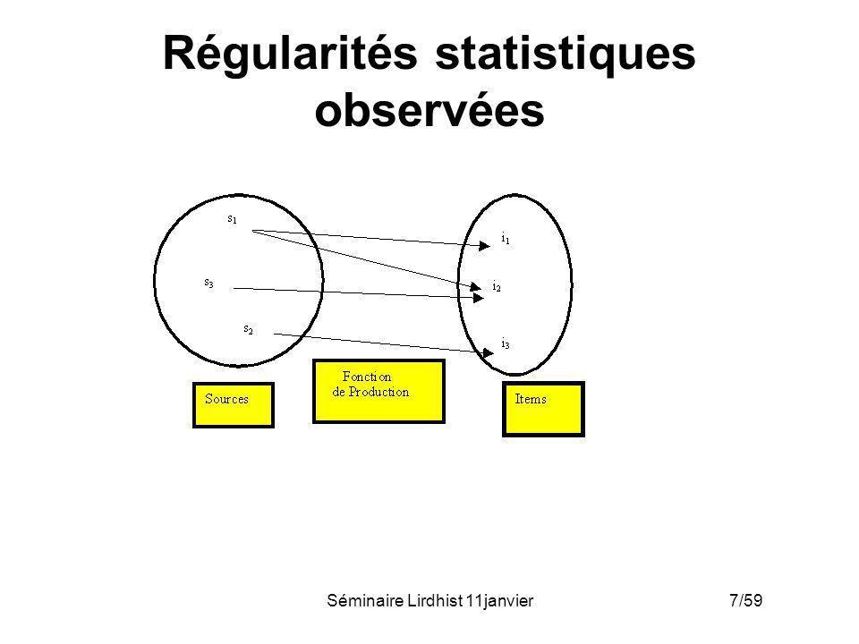 Séminaire Lirdhist 11janvier 8/59 Régularités statistiques observées Bibliométrie distributionnelle –(fréquence - effectif)
