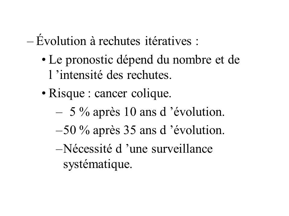 –Évolution à rechutes itératives : Le pronostic dépend du nombre et de l intensité des rechutes.