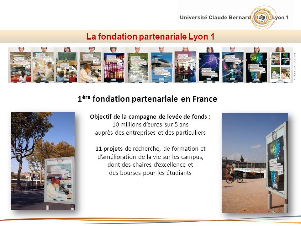 La fondation partenariale Lyon 1 Photos: Nadine beysseriat, / Eric Le Roux / UCBL 1 ère fondation partenariale en France Objectif de la campagne de le
