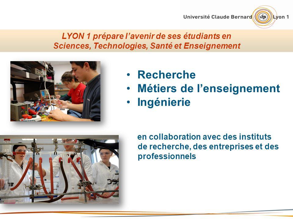 Recherche Métiers de lenseignement Ingénierie en collaboration avec des instituts de recherche, des entreprises et des professionnels LYON 1 prépare l