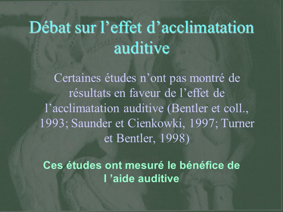 Débat sur leffet dacclimatation auditive Certaines études nont pas montré de résultats en faveur de leffet de lacclimatation auditive (Bentler et coll
