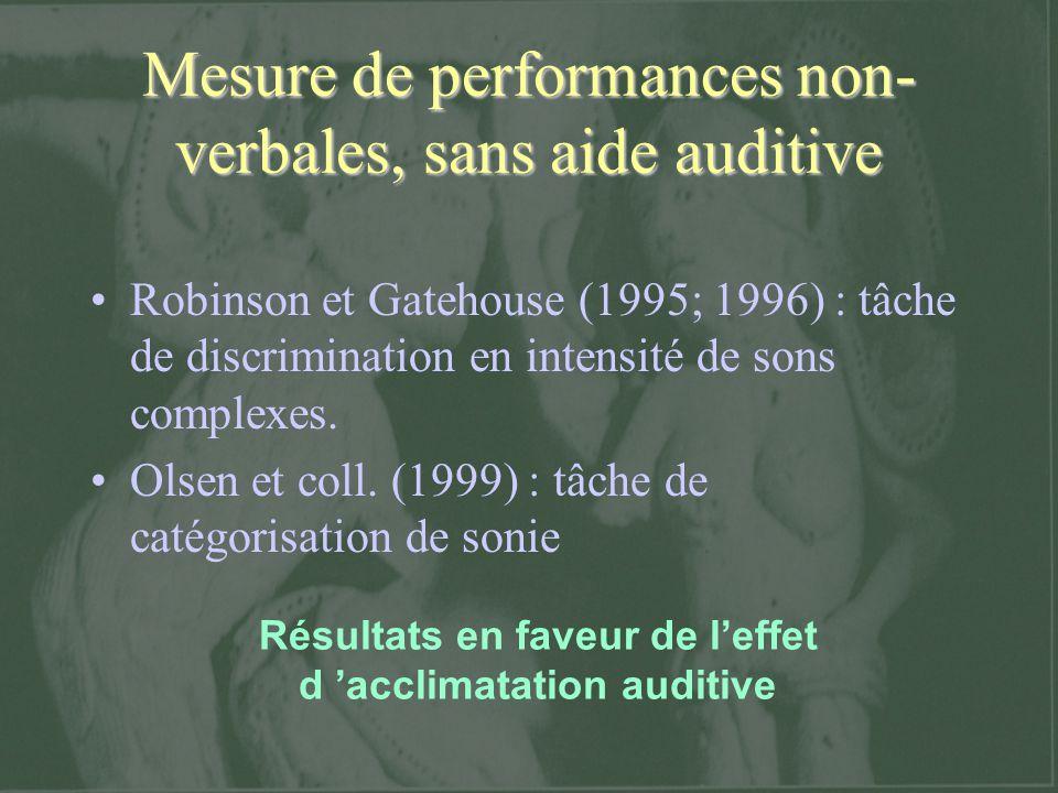 Résultats en faveur de leffet d acclimatation auditive Mesure de performances non- verbales, sans aide auditive Robinson et Gatehouse (1995; 1996) : t