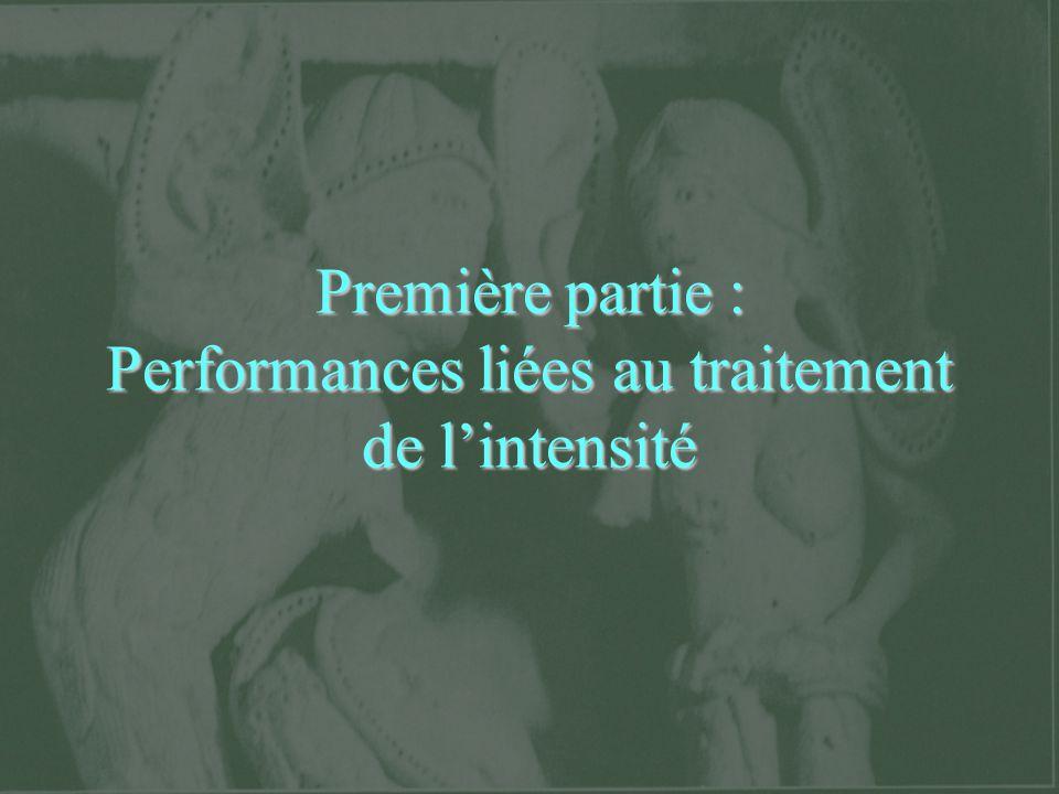 Première partie : Performances liées au traitement de lintensité