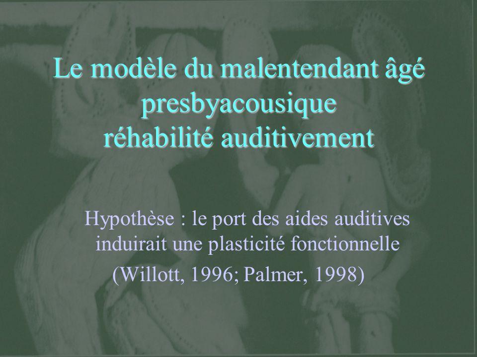 Résultats en faveur de leffet d acclimatation auditive Mesure de performances non- verbales, sans aide auditive Robinson et Gatehouse (1995; 1996) : tâche de discrimination en intensité de sons complexes.