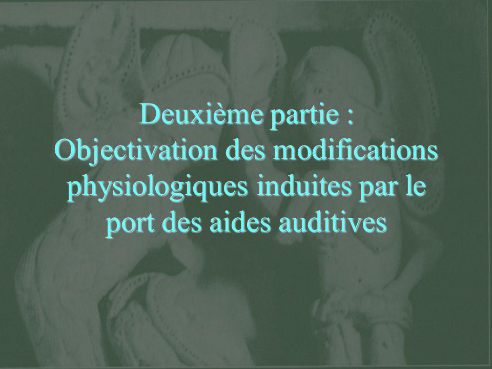 Deuxième partie : Objectivation des modifications physiologiques induites par le port des aides auditives