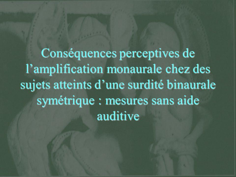 Conséquences perceptives de lamplification monaurale chez des sujets atteints dune surdité binaurale symétrique : mesures sans aide auditive