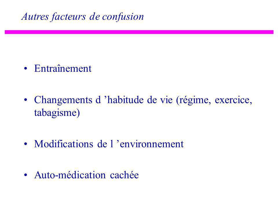 Facteurs de confusion: dérive de la mesure Appareils: tensiomètres, balances.. Echelles, scores Diagnostic