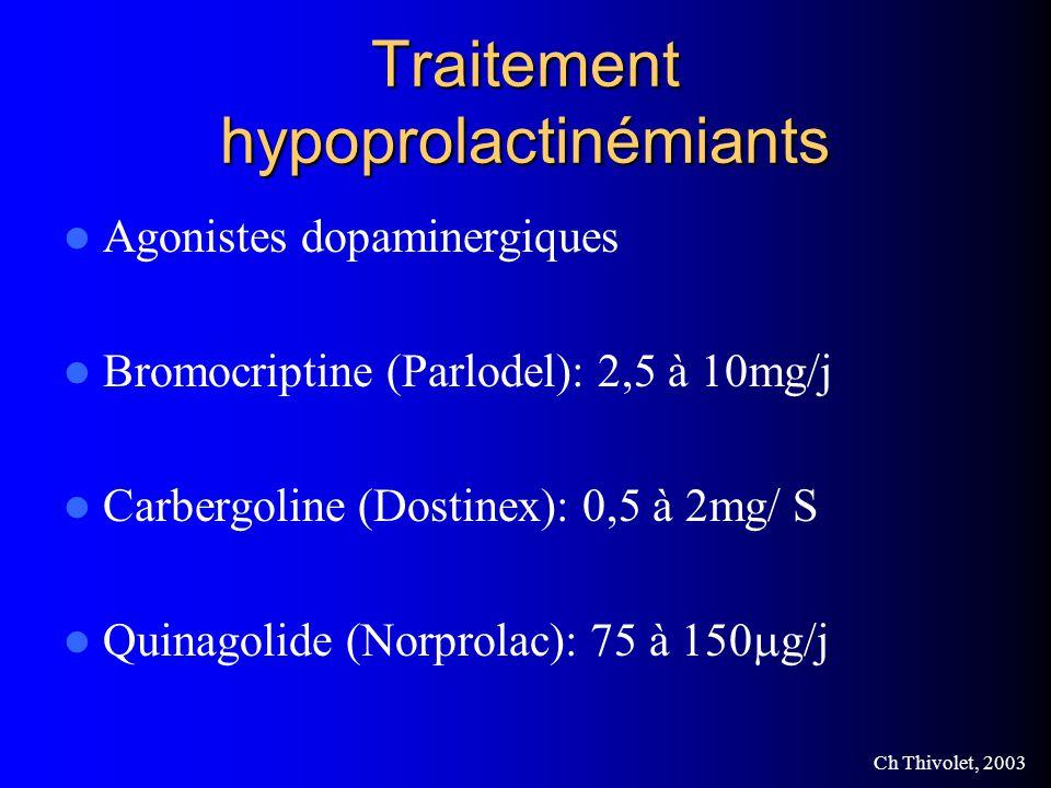 Ch Thivolet, 2003 Traitement hypoprolactinémiants Agonistes dopaminergiques Bromocriptine (Parlodel): 2,5 à 10mg/j Carbergoline (Dostinex): 0,5 à 2mg/ S Quinagolide (Norprolac): 75 à 150 g/j