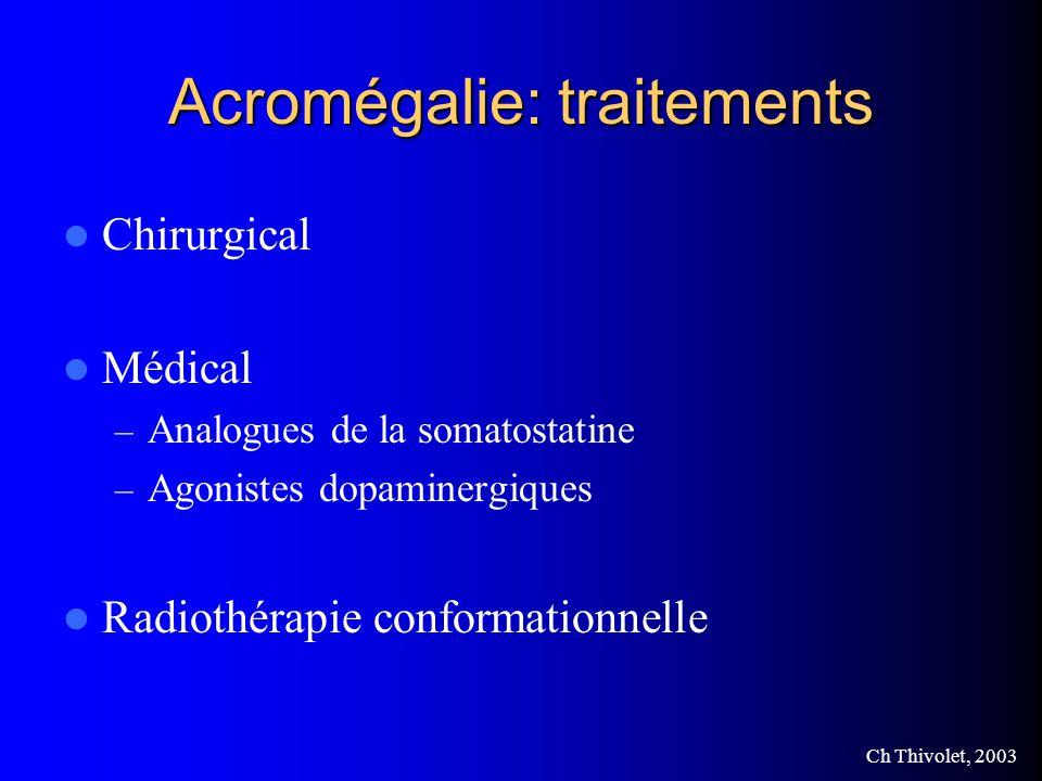 Ch Thivolet, 2003 Acromégalie: traitements Chirurgical Médical – Analogues de la somatostatine – Agonistes dopaminergiques Radiothérapie conformationnelle