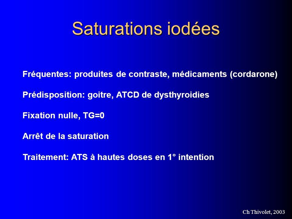 Ch Thivolet, 2003 Saturations iodées Fréquentes: produites de contraste, médicaments (cordarone) Prédisposition: goitre, ATCD de dysthyroidies Fixation nulle, TG=0 Arrêt de la saturation Traitement: ATS à hautes doses en 1° intention