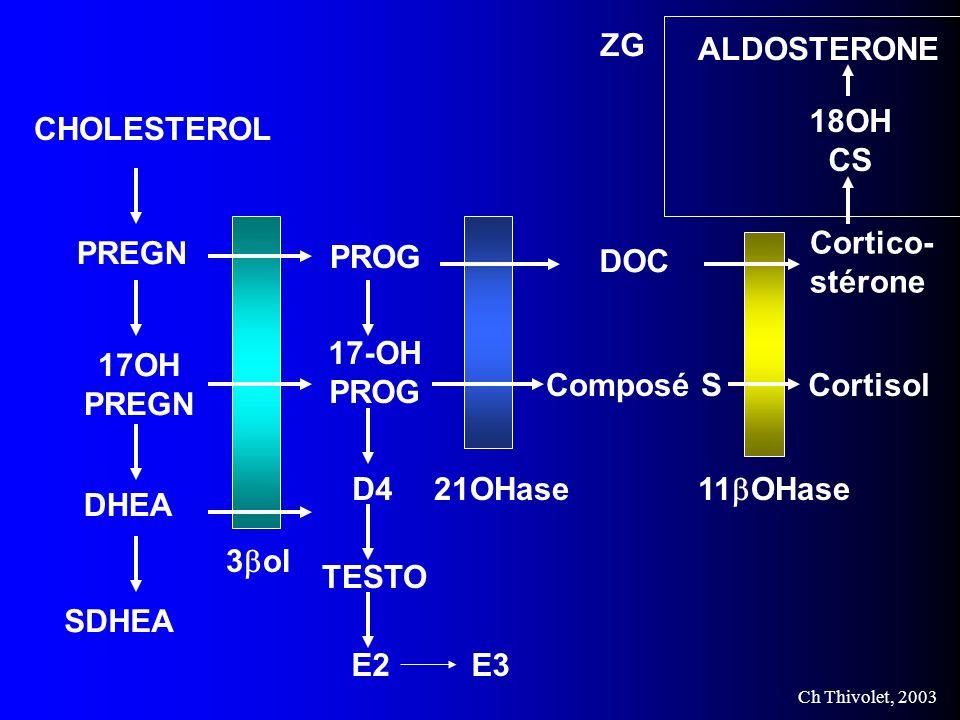 Ch Thivolet, 2003 CHOLESTEROL PREGN 17OH PREGN DHEA SDHEA 3 ol TESTO PROG 17-OH PROG D4 E2E3 21OHase DOC Composé S ZG 11 OHase Cortico- stérone Cortisol 18OH CS ALDOSTERONE