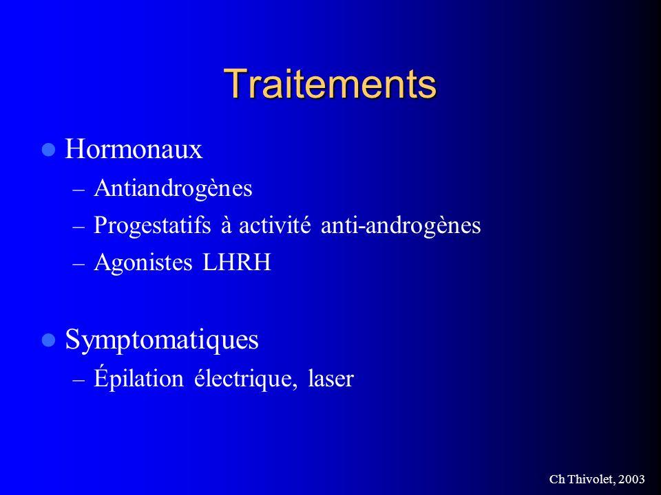 Ch Thivolet, 2003 Traitements Hormonaux – Antiandrogènes – Progestatifs à activité anti-androgènes – Agonistes LHRH Symptomatiques – Épilation électrique, laser