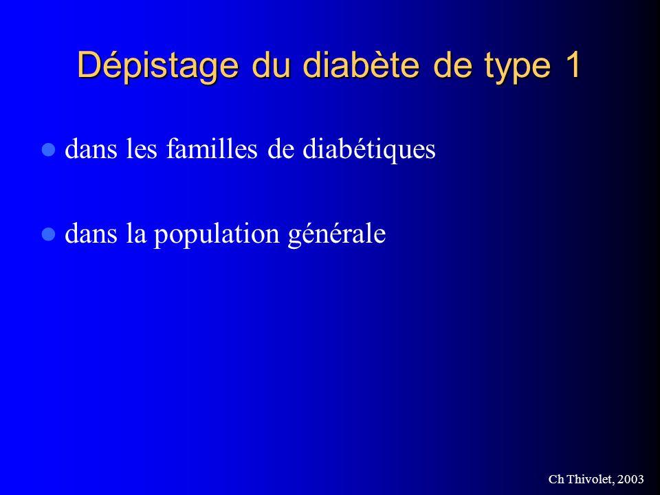 Ch Thivolet, 2003 Dépistage du diabète de type 1 dans les familles de diabétiques dans la population générale
