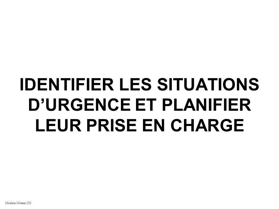 Module 14 item 252 IDENTIFIER LES SITUATIONS DURGENCE ET PLANIFIER LEUR PRISE EN CHARGE