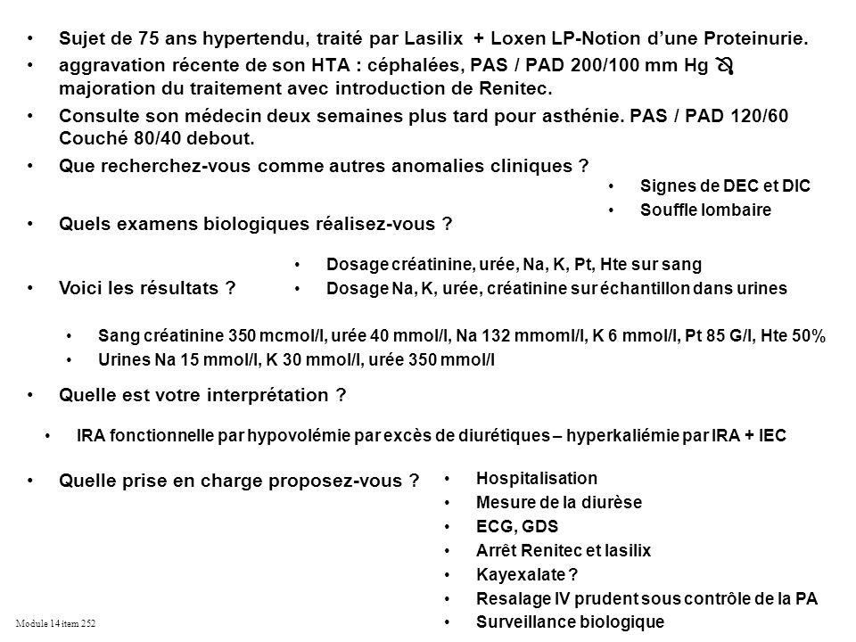 Module 14 item 252 Sujet de 75 ans hypertendu, traité par Lasilix + Loxen LP-Notion dune Proteinurie. aggravation récente de son HTA : céphalées, PAS