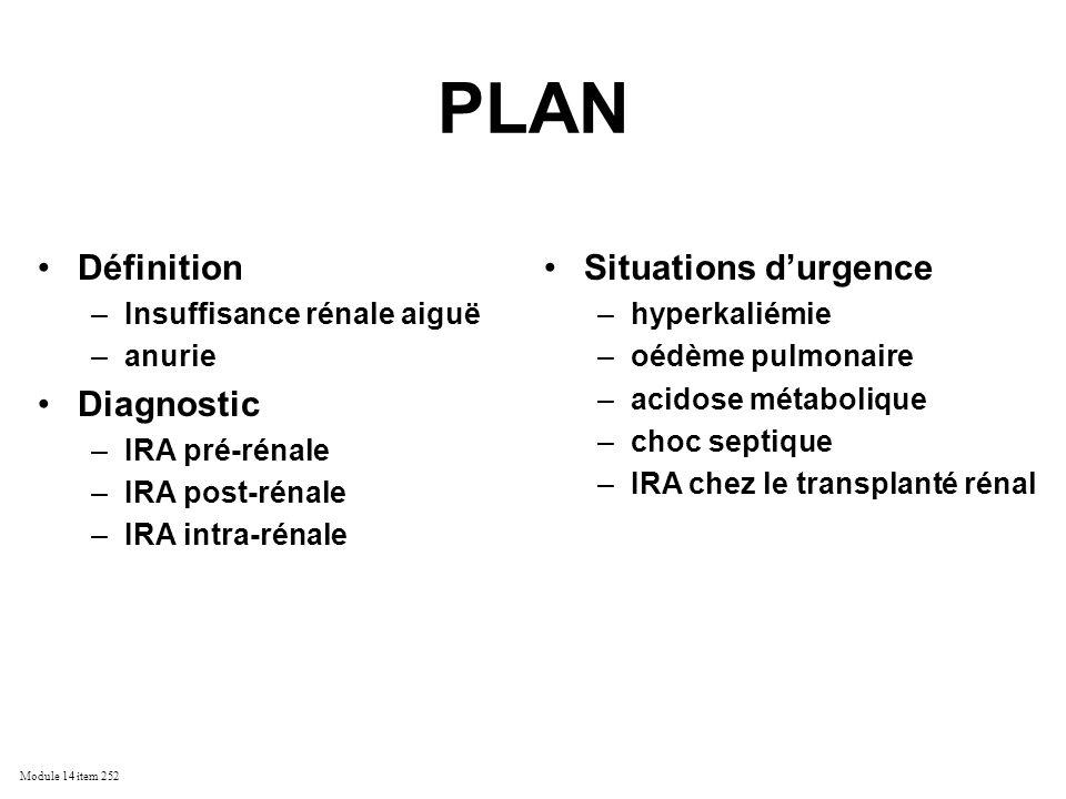 Module 14 item 252 PLAN Définition –Insuffisance rénale aiguë –anurie Diagnostic –IRA pré-rénale –IRA post-rénale –IRA intra-rénale Situations durgenc