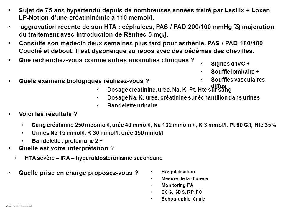 Module 14 item 252 Sujet de 75 ans hypertendu depuis de nombreuses années traité par Lasilix + Loxen LP-Notion dune créatininémie à 110 mcmol/l. aggra