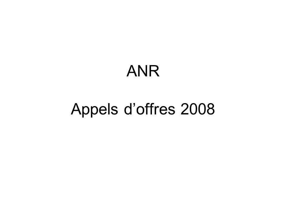 ANR Appels doffres 2008