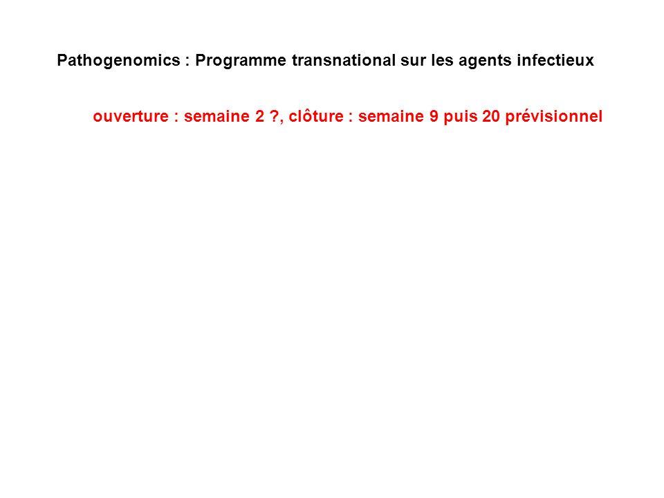 Pathogenomics : Programme transnational sur les agents infectieux ouverture : semaine 2 ?, clôture : semaine 9 puis 20 prévisionnel