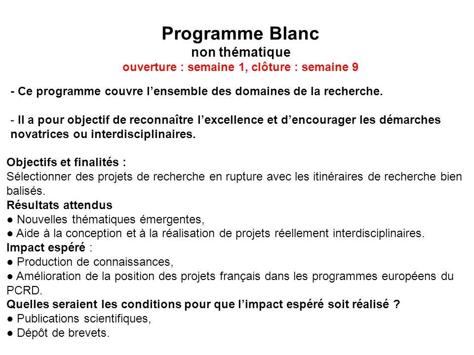 Programme Blanc non thématique ouverture : semaine 1, clôture : semaine 9 - Ce programme couvre lensemble des domaines de la recherche. - Il a pour ob