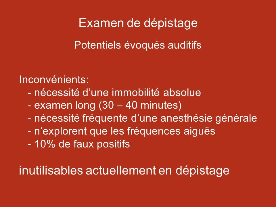 Examen de dépistage Potentiels évoqués auditifs Inconvénients: - nécessité dune immobilité absolue - examen long (30 – 40 minutes) - nécessité fréquente dune anesthésie générale - nexplorent que les fréquences aiguës - 10% de faux positifs inutilisables actuellement en dépistage