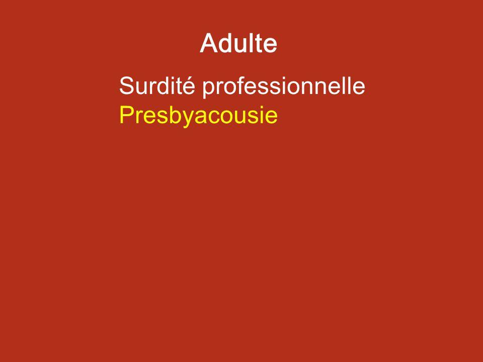 Surdité professionnelle Presbyacousie Adulte