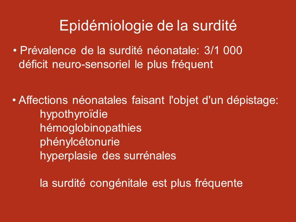 Epidémiologie de la surdité Prévalence de la surdité néonatale: 3/1 000 déficit neuro-sensoriel le plus fréquent Affections néonatales faisant l objet d un dépistage: hypothyroïdie hémoglobinopathies phénylcétonurie hyperplasie des surrénales la surdité congénitale est plus fréquente