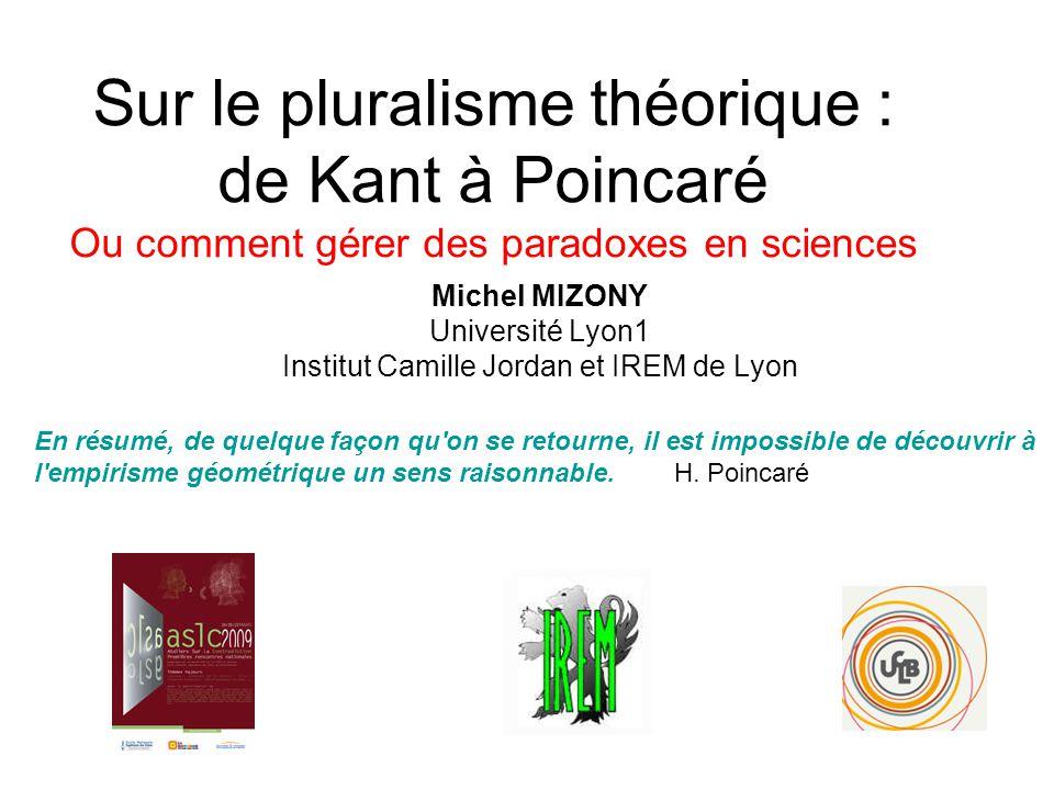 Michel MIZONY Université Lyon1 Institut Camille Jordan et IREM de Lyon En résumé, de quelque façon qu'on se retourne, il est impossible de découvrir à