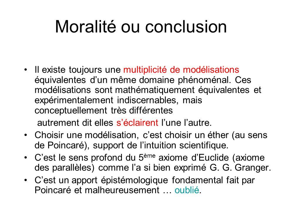 Moralité ou conclusion Il existe toujours une multiplicité de modélisations équivalentes dun même domaine phénoménal. Ces modélisations sont mathémati