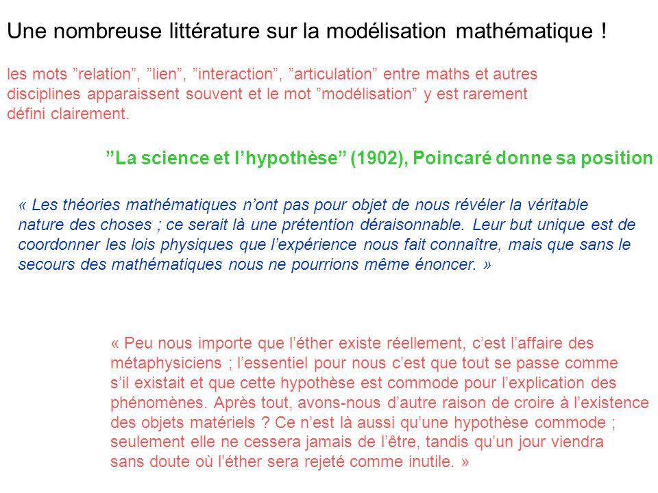 Une nombreuse littérature sur la modélisation mathématique ! les mots relation, lien, interaction, articulation entre maths et autres disciplines appa
