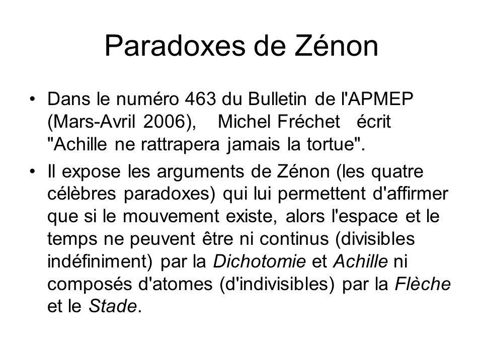 Paradoxes de Zénon Dans le numéro 463 du Bulletin de l'APMEP (Mars-Avril 2006), Michel Fréchet écrit
