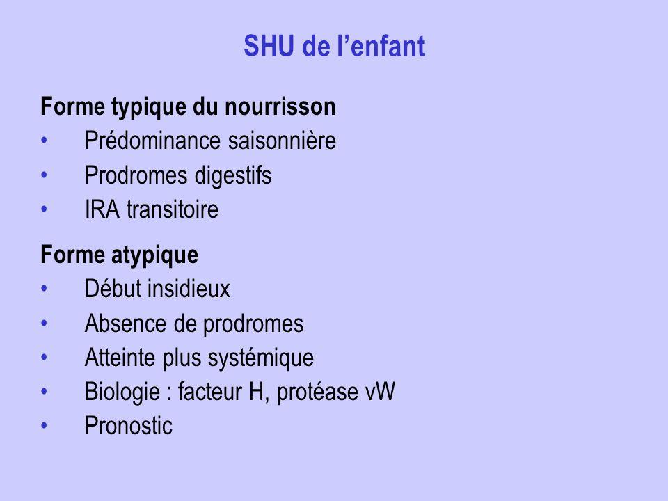 SHU de lenfant Forme typique du nourrisson Prédominance saisonnière Prodromes digestifs IRA transitoire Forme atypique Début insidieux Absence de prod