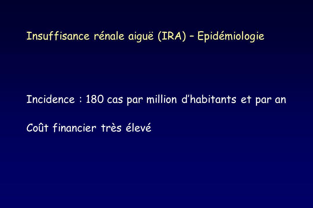 IRA - Définition Défaillance soudaine des fonctions rénales Créatininémie > 150 µmol/L ou +30% Étiologies variées Présentation clinique assez uniforme