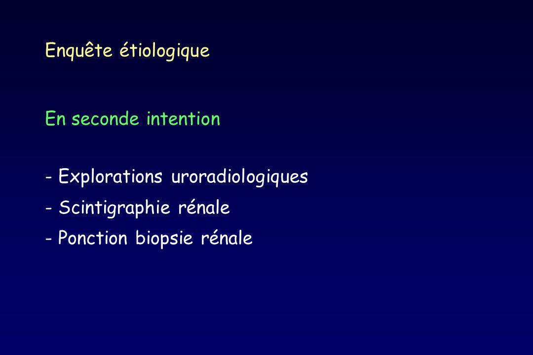 Enquête étiologique En seconde intention - Explorations uroradiologiques - Scintigraphie rénale - Ponction biopsie rénale