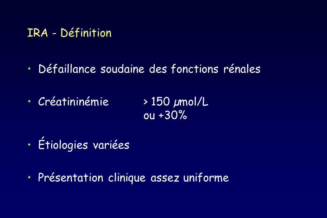 Néphroprotection Aucun agent réellement néphroprotecteur - mannitol, furosémide - dopamine à dose dopaminergique - inhibiteurs calciques - agents néphroprotecteurs Maintien d un état d hydratation normal +++